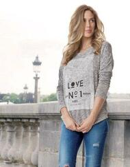"Grey Seraphine Maternity Marled ""Love No.1"" Maternity Light Sweater Knit (Like New - Size Large)"