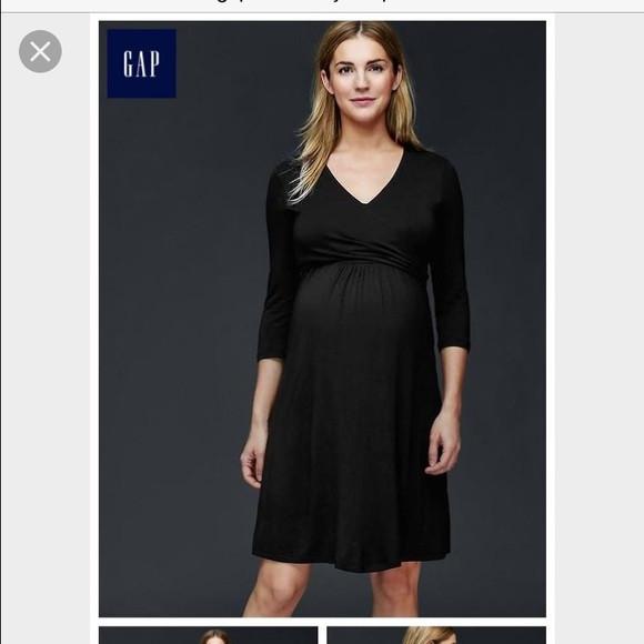 Black Gap Maternity 3 4 Sleeve Wrap Maternity Dress Like New Size X Small Motherhood Closet Maternity Consignment