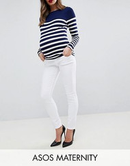 White ASOS DESIGN Maternity Ridley High Waist Skinny Jeans In White With Under The Bump Waistband (Like New - Size 8USA)