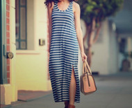 Heater Blue J.Crew Maternity Striped Maxi Tank Dress (Like New - Size Medium)