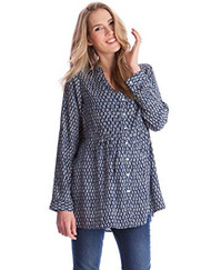 Navy Seraphine Maternity Aztec Print Button Down Nursing Blouse (Like New - Size Large)