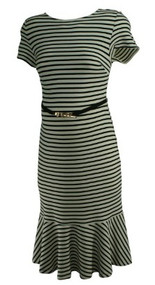 Cream A Pea in the Pod Maternity Striped Short Sleeve Maternity Dress (Like New - Size Medium)