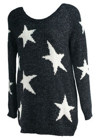 Black A Pea in the Pod Maternity Thick Long Sleeve Star Print Maternity Sweater (Like New - Size Medium)