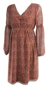 Marsala GAP Maternity 3/4 Sleeve Paisley Print Cinched Maternity Dress (Like New - Size X-Small)