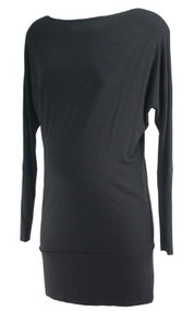 Black Rhonda Maternity Long Sleeve Maternity Tunic (Gently Used - Size X-Small)