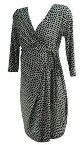 Black & White A Pea in the Pod Maternity Chain Link Faux Wrap Maternity Dress (Gently Used - Size Medium)