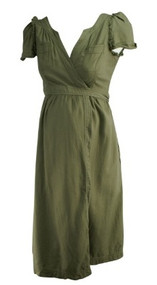 Olive Green GAP Maternity Ruffled Short Sleeve Maternity Wrap Dress (Gently Used - Size Small)