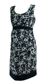 Deep Navy Motherhood Maternity Floral Print Casual Maternity Dress (Gently Used - Size Medium)