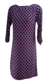 Navy Blue Laundry by Shelli Segal Maternity Pink Printed 3/4 Sleeve Maternity Dress (Like New - Size Small)