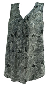 Black A Pea in the Pod Maternity Leaf Print Maternity Sleeveless Maternity Blouse (Gently Used - Size Small)
