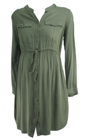Olive Old Navy Maternity Long Sleeve Casual Button Down Maternity Tunic (Gently Used - Size Medium)