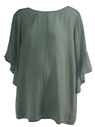 Sky Blue Velvet Maternity Flowy Sleeve Chambray Maternity Top (Like New - Size Large)