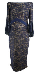 Navy Blue Kim & Kai Maternity 3/4 Sleeve Laced Special Occasion Dress (Like New - Size Large)