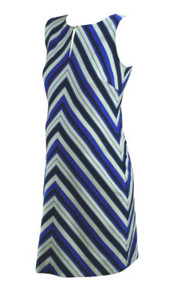 Royal Blue Taylor for A Pea in the Pod Maternity Collection Chevron Maternity Dress with Exposed Zipper (Like New -Size Large)