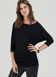 Black Isabella Oliver Maternity Semi Off The Shoulder  Maternity Top (Like New - Size 4)