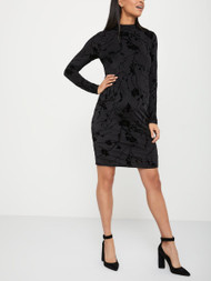 Black Thyme Maternity Thyme Stork & Babe Velvet Flower Print Fitted Dress (Like New - Size X-Small)