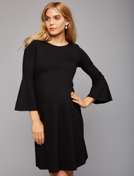 Black Isabella Oliver Maternity Thick Bell Sleeve Dress (Like New - Size 3)