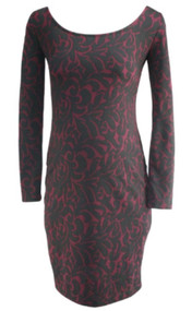 *New* Black Jessica Simpson Maternity Long Sleeve Printed Dress (Size Small)