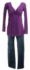 Lot of 2: Indigo Blue Maternity and Lucy & Fiona Maternity Blouse and Jeans (Gently Used - Size Medium/Small)