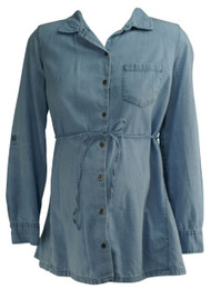 Light Wash Motherhood Maternity Long Sleeve Button Down Denim Shirt (Like New - Size Small)