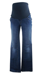 Dark Wash Indigo Blue Maternity Full Panel Maternity Boot Cut Jeans (Gently Used - Size Large)
