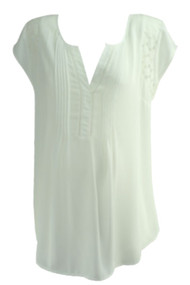 White A Pea in the Pod Maternity V-Neck Laced Shoulder Short Sleeve Blouse (Like New - Size Large)