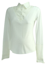 *New* White Liz Lange Collection Maternity Ellise Long Collared Career Maternity Blouse (Size Three)