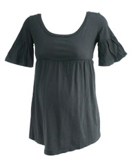 *New* Black Maternal America Maternity Cinched Short Sleeve Blouse (Size Medium)