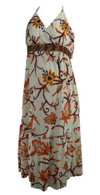 *New* Cream Maternal America Maternity Floral Beaded Halter Dress (Size Medium)