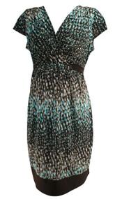 Brown Motherhood Maternity V-Cut Short Sleeve Casual Maternity Dress (Like New - Size Large)