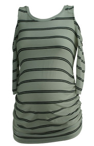 White Jessica Simpson Maternity Striped Cut Out Shoulder Maternity Summer Blouse (Like New - Size Small)