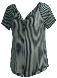 Navy A Pea in the Pod Maternity Striped Button Down Maternity Short Sleeve Blouse (Like New - Size Small)