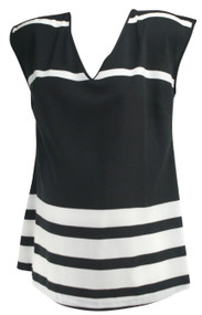 Black A Pea in the Pod Maternity Sleeveless Striped Maternity V-Neck Blouse (Like New - Size Small)