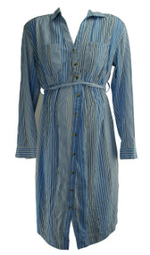Sky Blue Motherhood Maternity Long Sleeve Striped Button Down Maternity Dress (Gently Used - Size Medium)