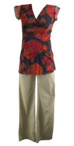 Red Floral and Beige Mimi Maternity Lot of 2 V-Neck and Khaki Pants Maternity Set (Gently Used - Size Small/Medium)