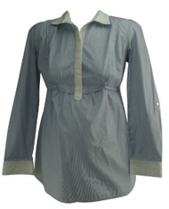 Light Blue A Pea in the Pod Maternity Half Button Down Pin Stripe Career Maternity Blouse (Like New - Size Small)