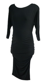 Black Isabella Oliver Maternity Long Sleeve Ruched Career Maternity Dress (Like New - Size 1)