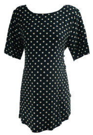 Black and White Isabella Oliver Maternity Polk-A-Dot Print Career Maternity Top (Like New - Size 5)