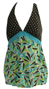 Brown and Blue Motherhood Maternity Polk-A-Dot Print and Amazon Print Maternity Tankini (Gently Used - Size Medium)