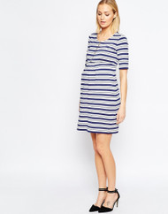 Blue Striped  Isabella oliver Maternity  Dress (Like New - Size 3/ 8US)