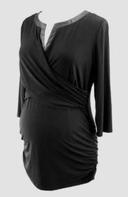 Noir Black Motherhood Maternity Faux Leather Trim Ruched Maternity Blouse (Like New - Size Large)