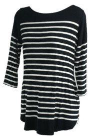 Black and White A Pea in the Pod Maternity Boot Neck Striped Maternity Blouse (Like New - Size Large)