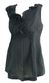 Black GAP Maternity Ruffle Neck Sleeveless Career Maternity Top (Like New - Size Small)