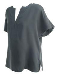 Black La Fayette 148 New York Short Sleeve Blouse (Like New - Size Large)