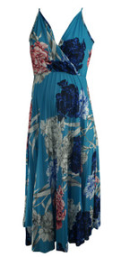 Blue Asos Maternity Spaghetti Strap V-Cut Floral Maternity Dress (Like New - Size 10)