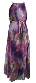 Purple Unknown Maternity Flowy High Halter Maternity Floral Dress (Like New - Size Small)
