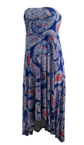 Blue Paisley Print Motherhood Maternity Strapless Casual Maternity Dress (Gently Used - Size Large)