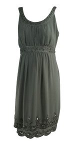 Gray A Pea in the Pod Maternity Beaded Special Occasion Maternity Dress (Like New - Size Large)