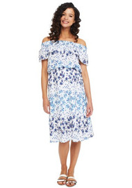 Blue Rosie Pope Maternity Floral Serena Dress (Like New - Size Large)