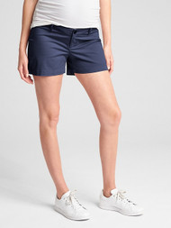 Navy Gap Maternity Inset Panel Summer Shorts in Stretch Twill (Like New - Size 4)